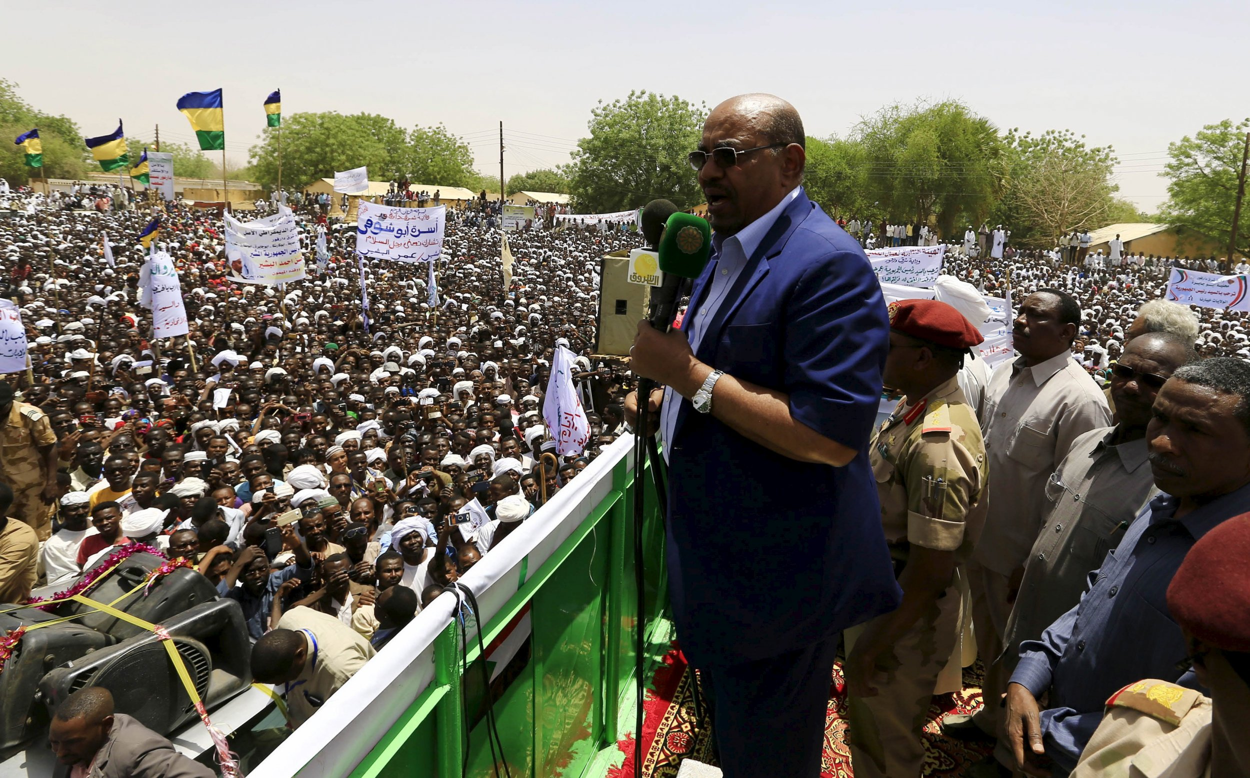 Sudanese President Omar Al-Bashir addresses a rally in East Darfur.