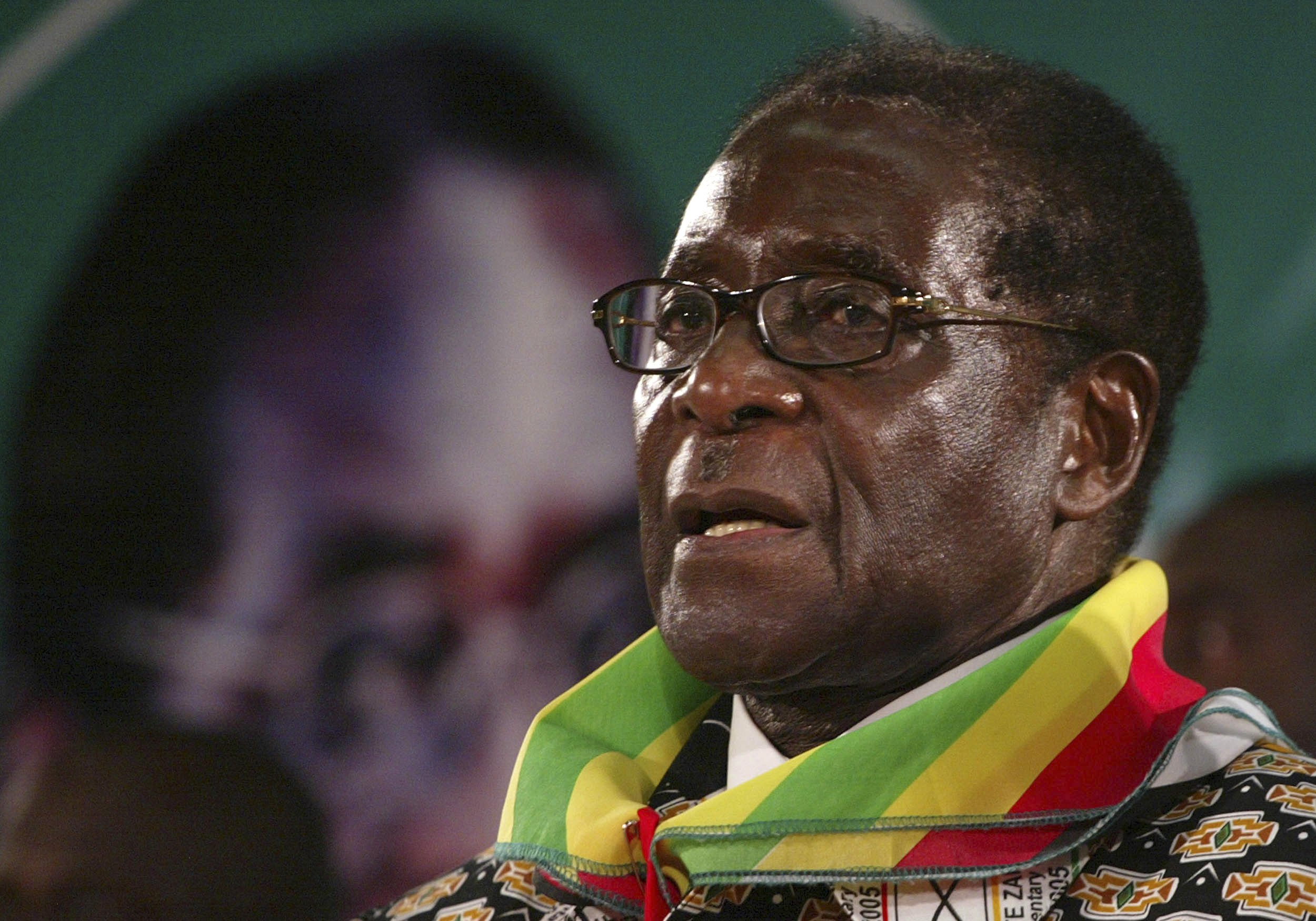 Zimbabwe President Robert Mugabe addresses a rally.