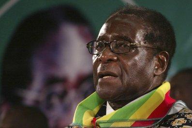Zimbabwe President Robert Mugabe addresses a rally.