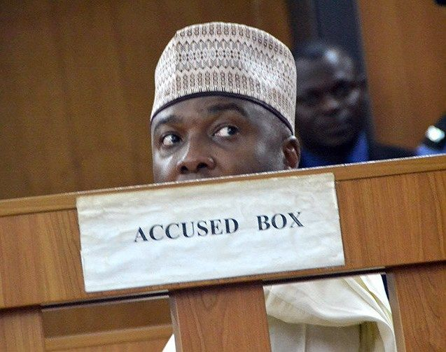 Nigerian Senate President Bukola Saraki at a hearing in Abuja.