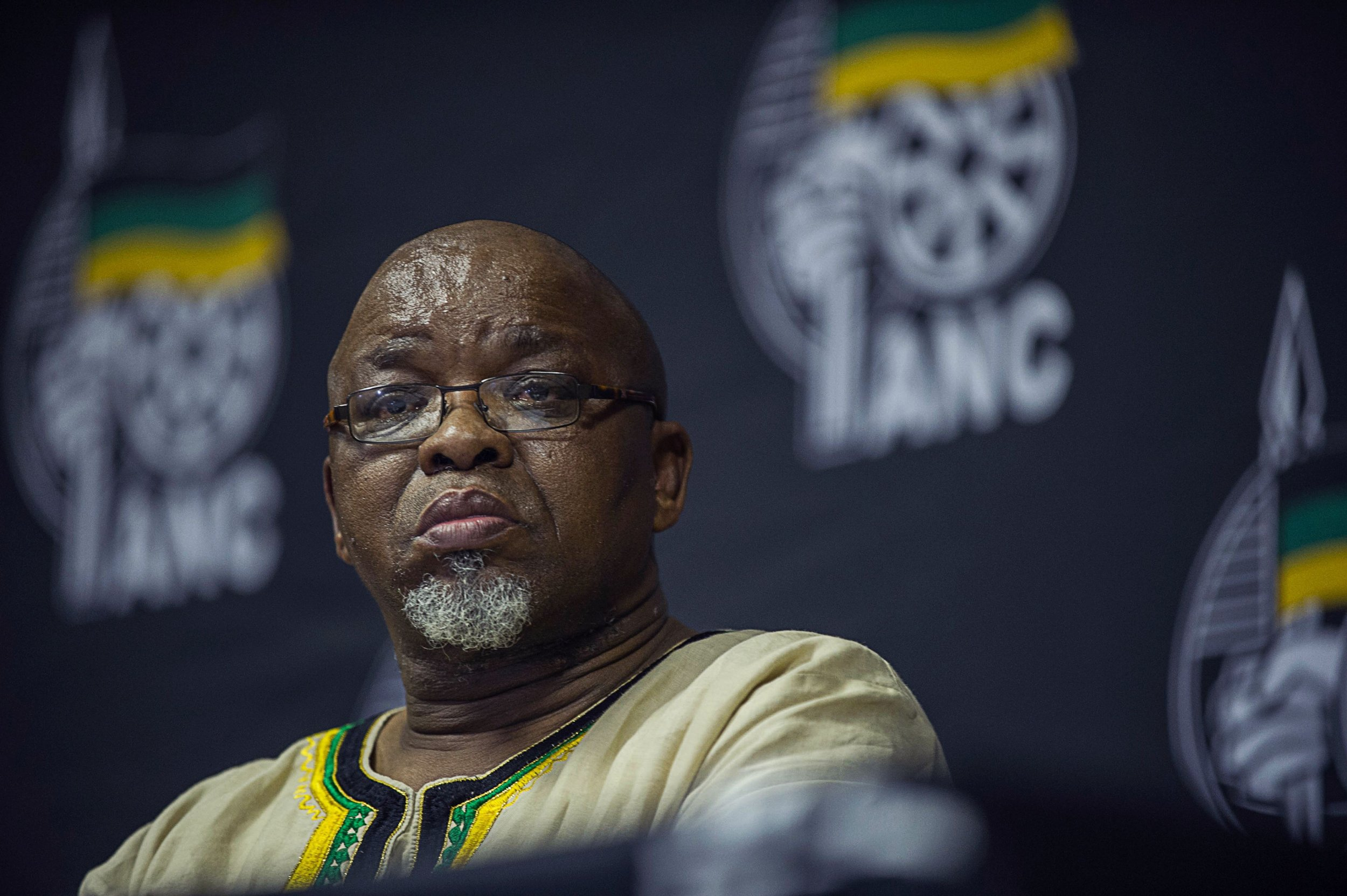ANC Secretary General Gwede Mantashe addresses the media.