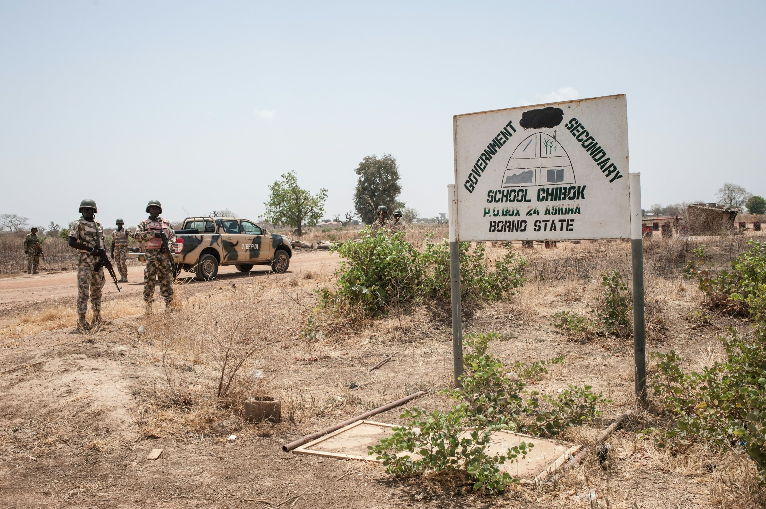 Nigerian soldiers at the Chibok school from where Boko Haram abducted 276 schoolgirls in April 2014.