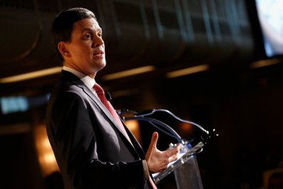 David Miliband at an International Rescue Committee ceremony in New York.