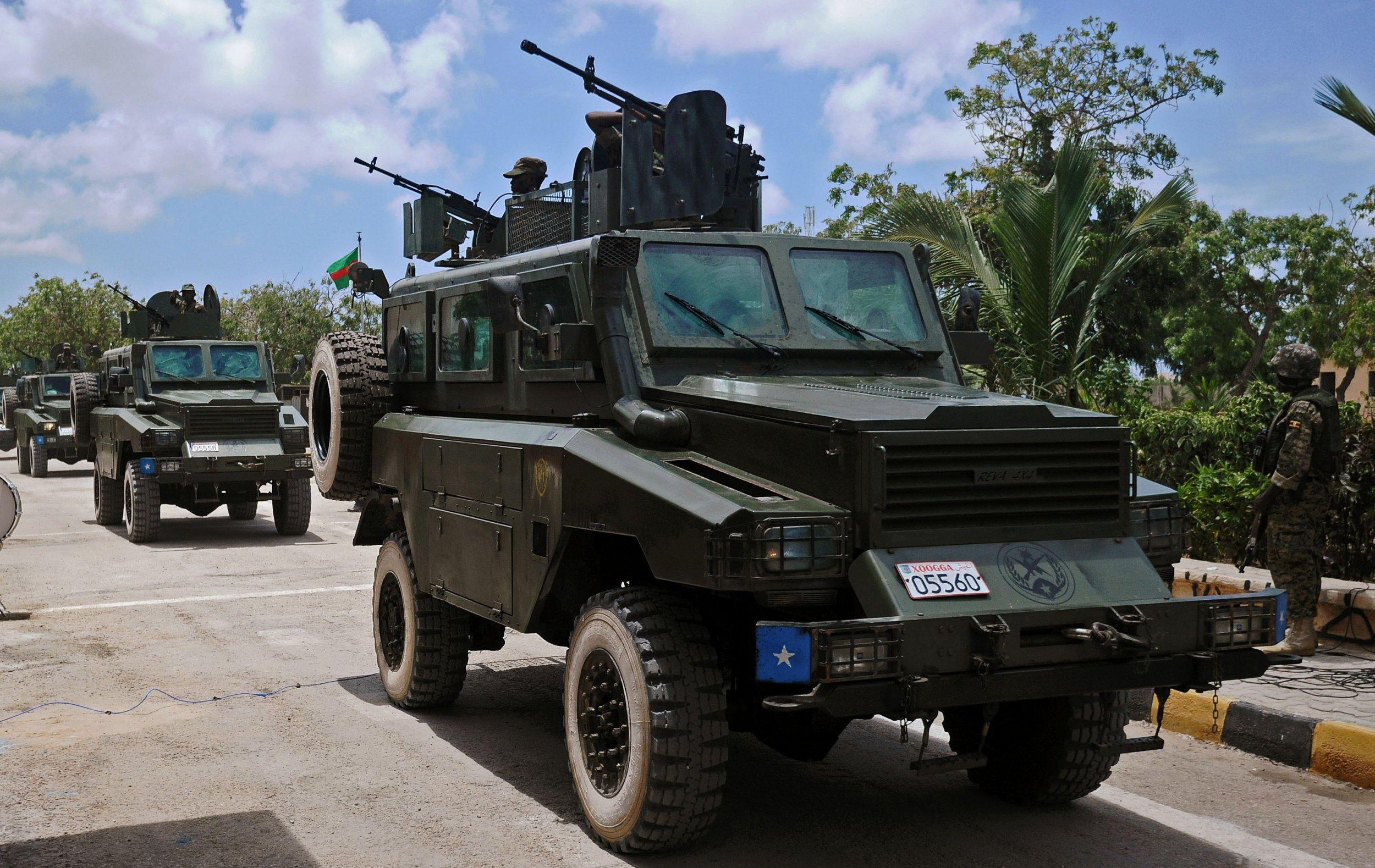A Somali military truck parades in Mogadishu.