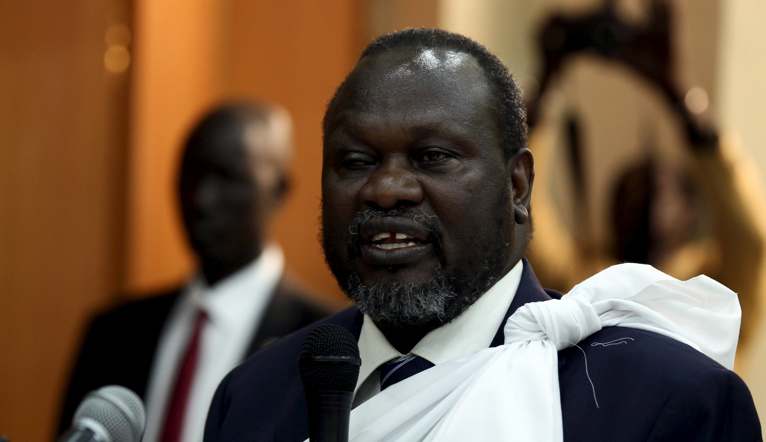 South Sudan's vice president Riek Machar speaks at a briefing.