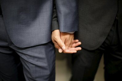 A gay Chinese couple prepare to get married in California.