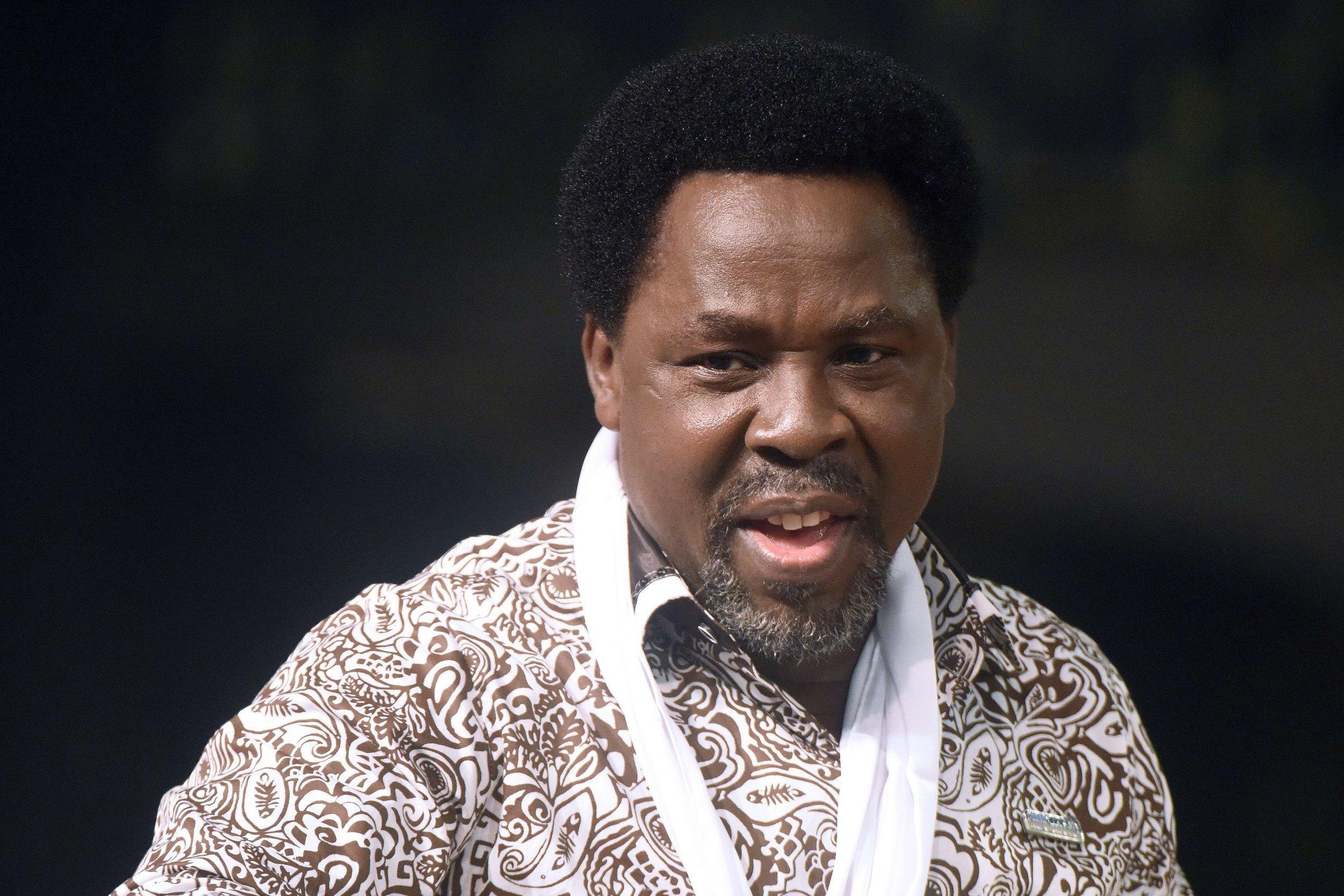 Nigerian preacher TB Joshua speaks at a service in Lagos.