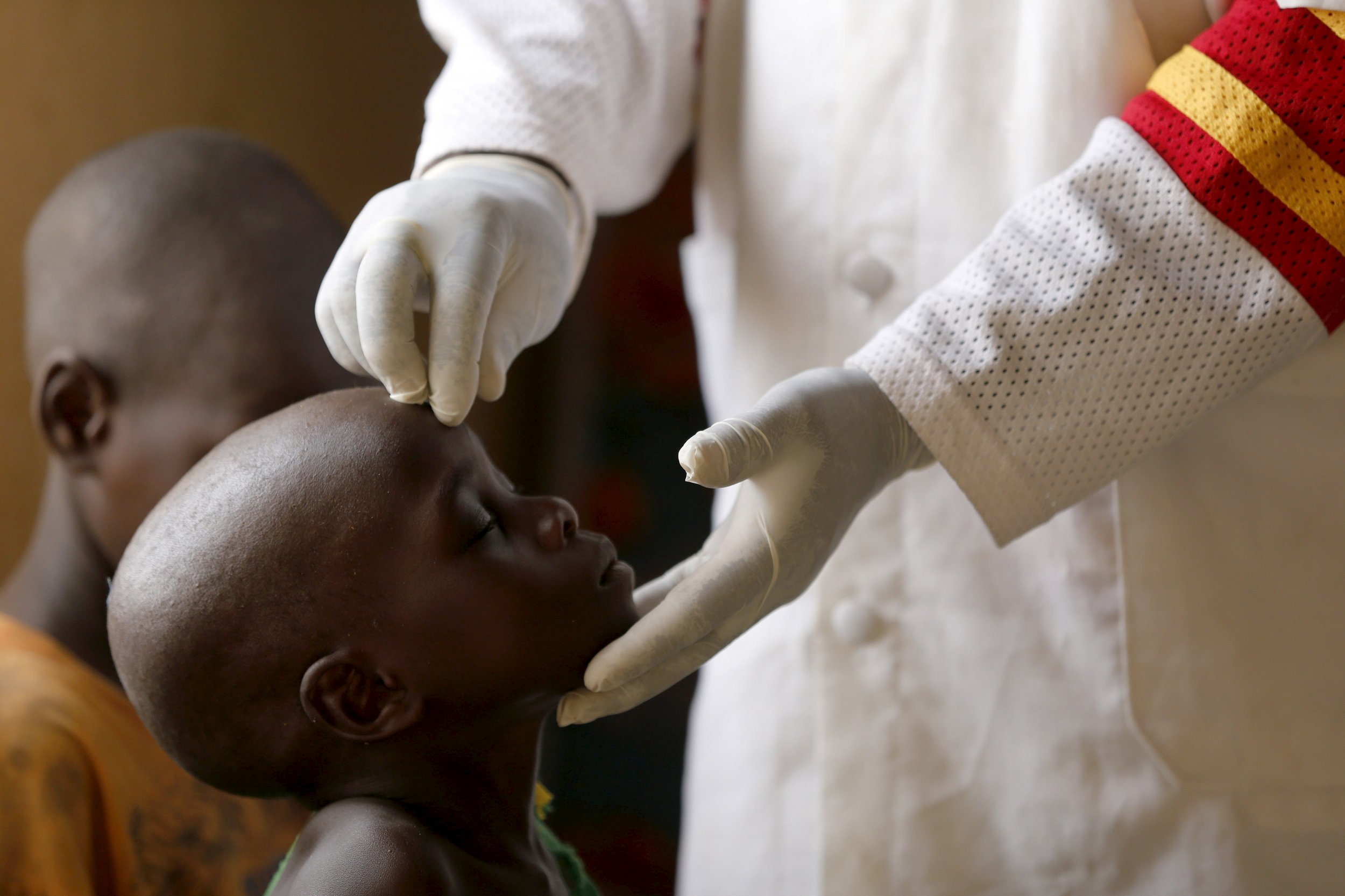 A child rescued from Boko Haram is given a health check in Yola, Nigeria.