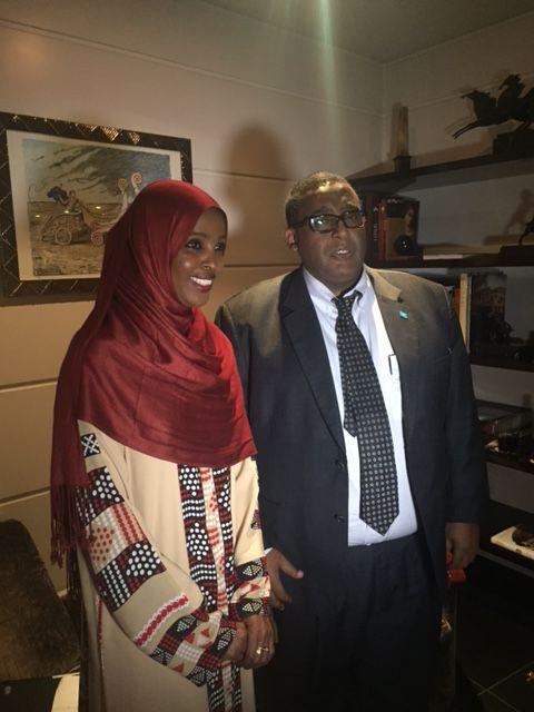 Ifrah Ahmed with Somali PM Omar Sharmarke.