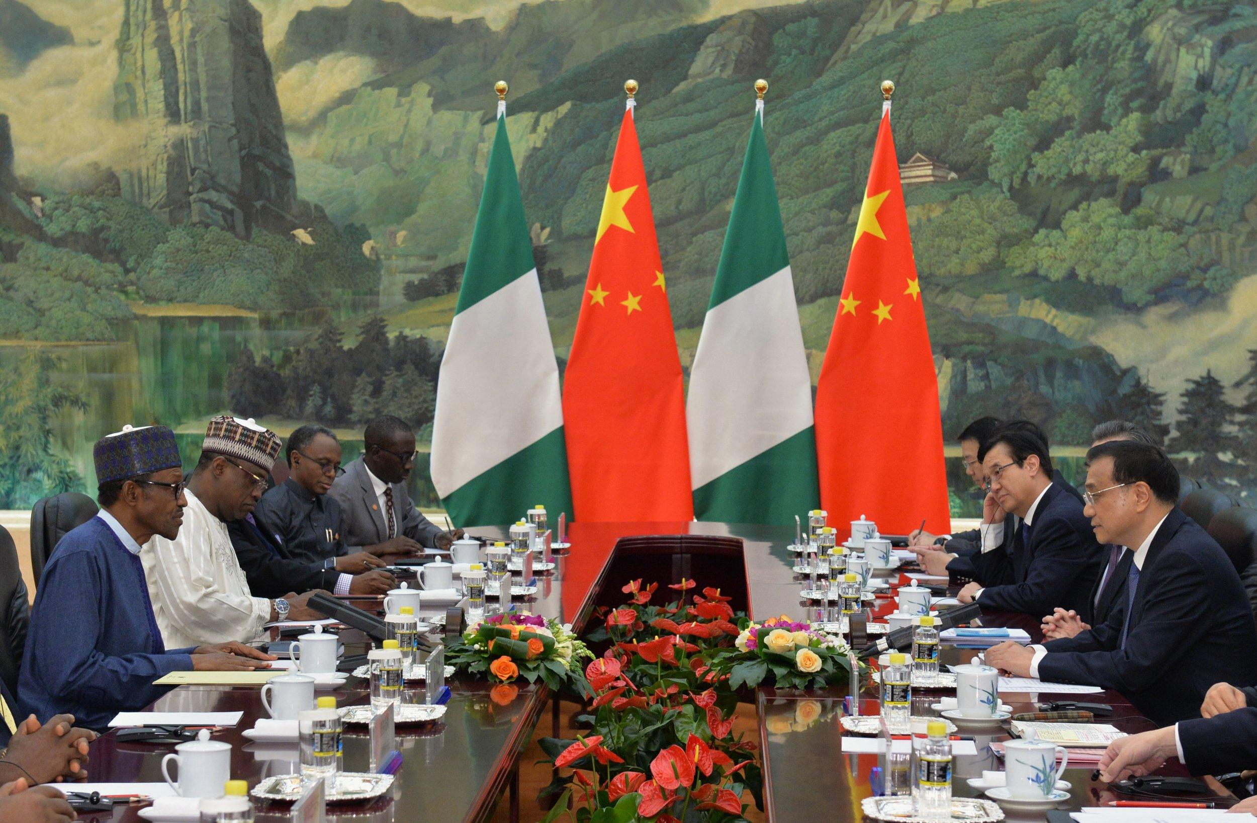 Nigerian President Muhammadu Buhari meets Chinese Premier Li Keqiang in Beijing.