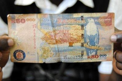 A 50,000 Kwacha note is seen in Lusaka, Zambia.
