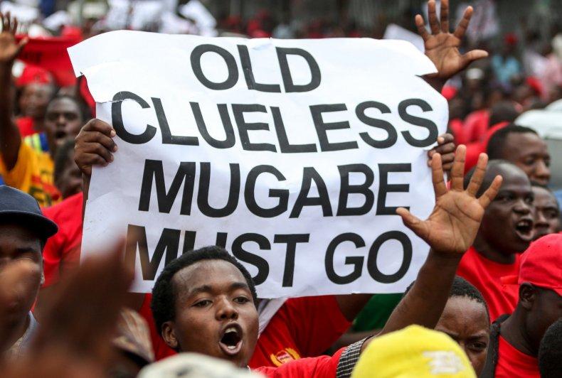 Anti-Robert Mugabe protesters in Harare, Zimbabwe.
