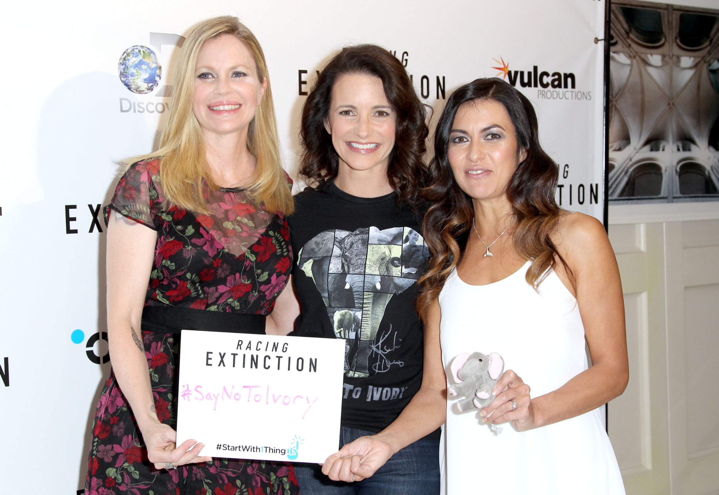 Actresses Kristin Bauer van Straten, left, and Kristin Davis, center, and racing driver Leilani Munter, right, at The London West Hollywood, California.