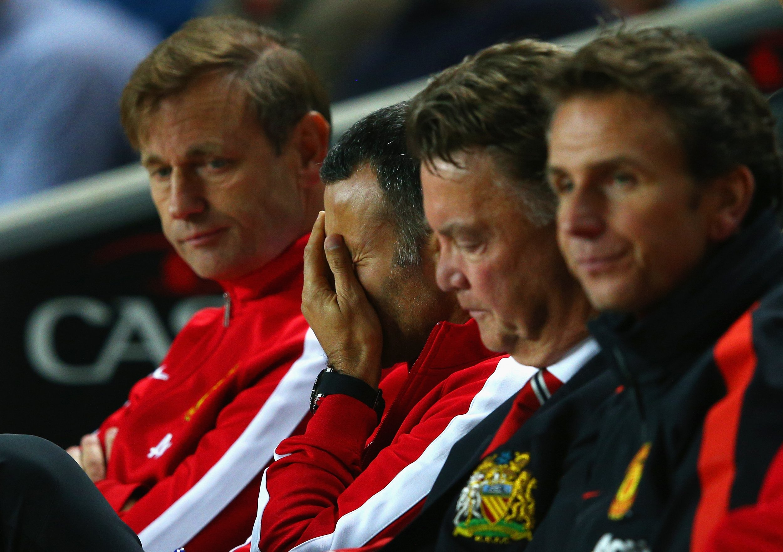 Ryan Giggs, second from left, and Louis Van Gaal, second from right, could miss out on the Champions League.