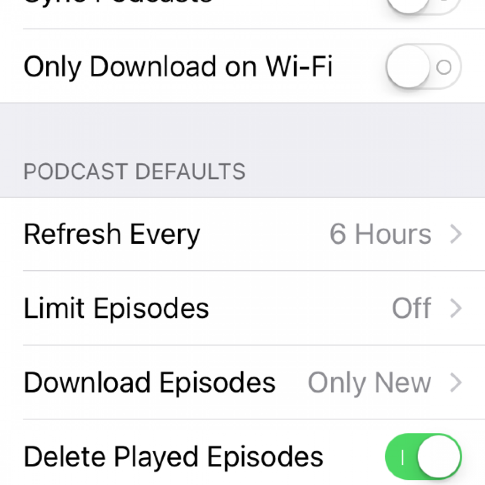 Podcast Limit Episodes