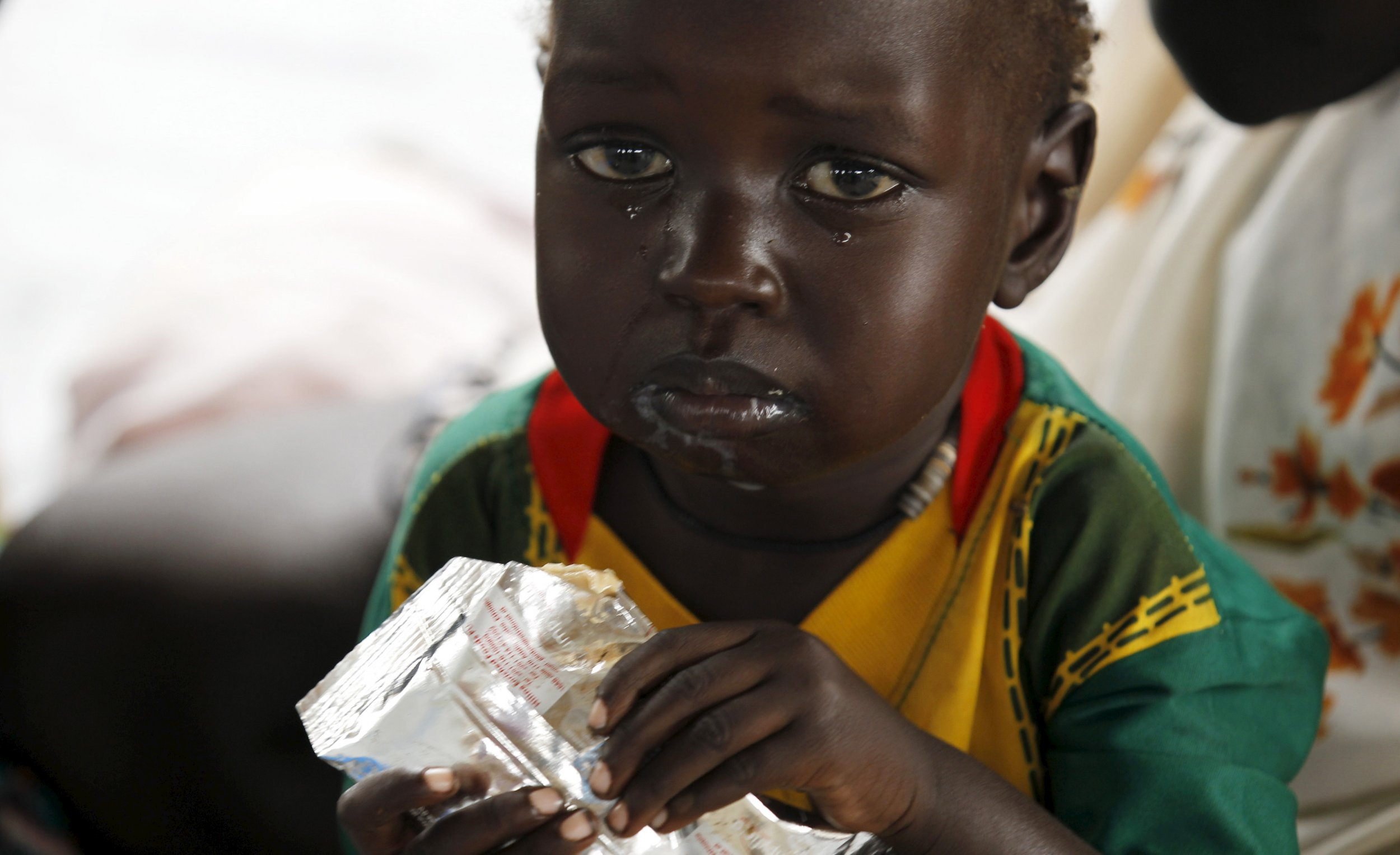 A South Sudanese child in a refugee camp in Ethiopia.