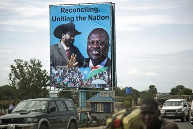 A South Sudan billboard featuring Salva Kiir and Riek Machar.
