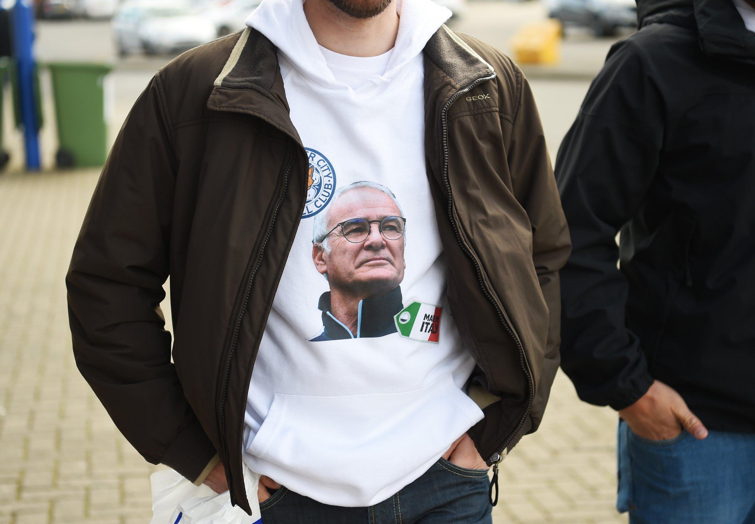 A Claudio Ranieri T-shirt at the King Power Stadium, Leicester.