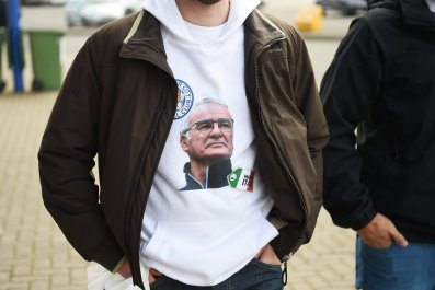 A Claudio Ranieri T-shirt at the King Power Stadium, Leicester.