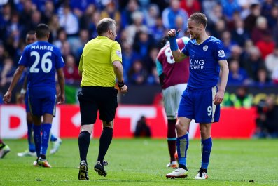 Jamie Vardy, right, could miss two crucial games of Leicester City's season.