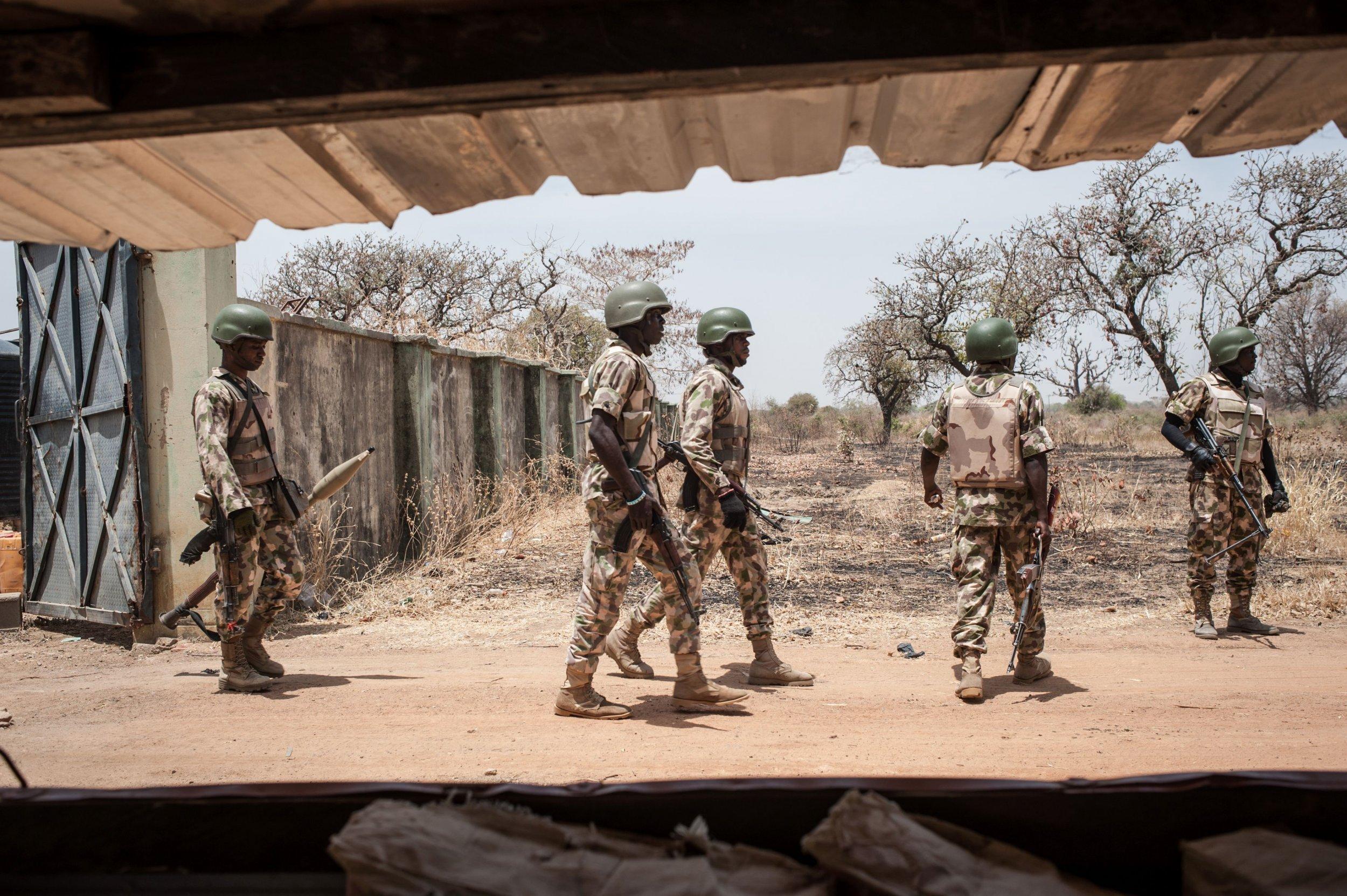Nigerian soldiers at Chibok school.