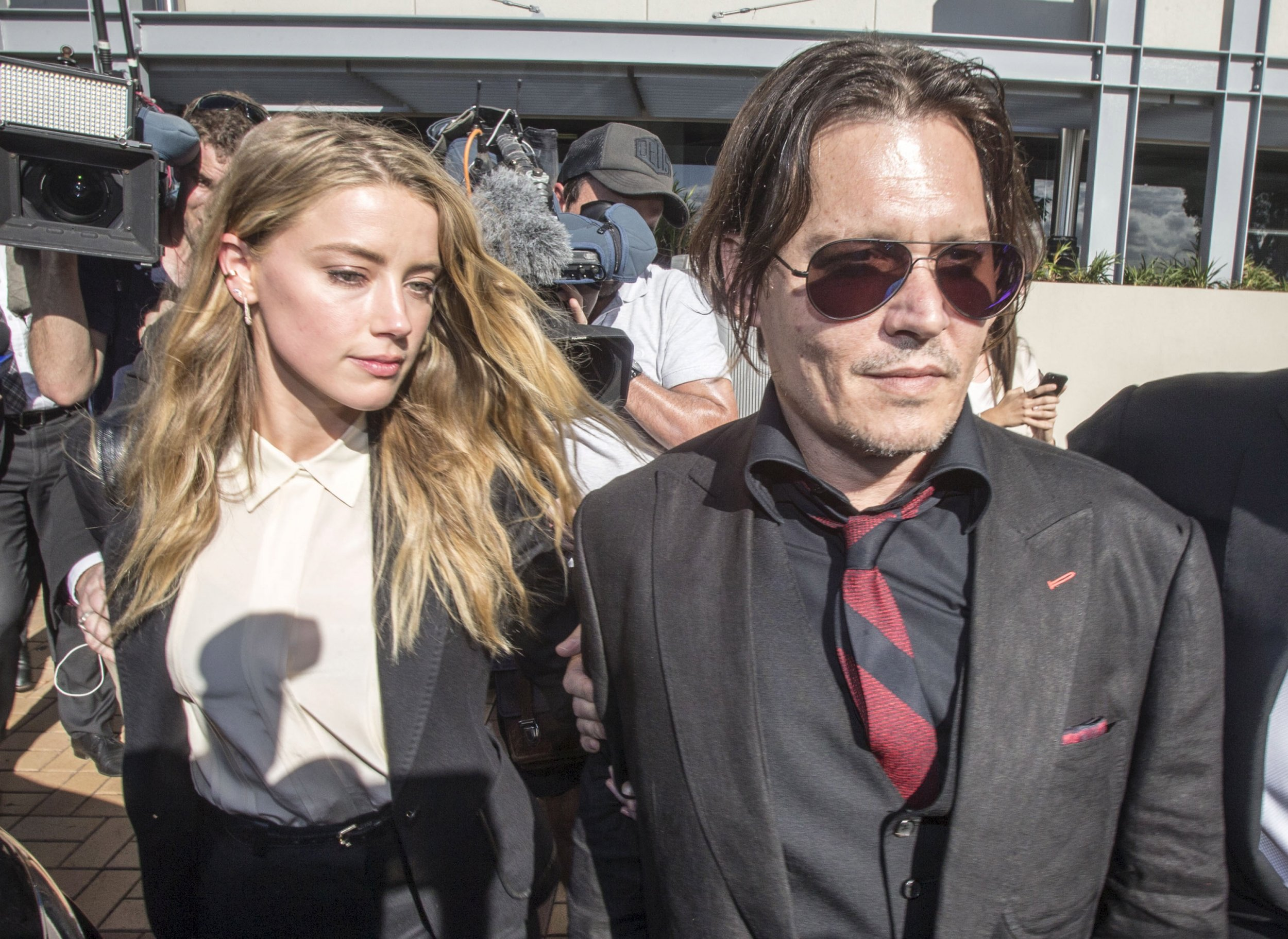 Johnny Depp and Amber Heard at court in Australia.