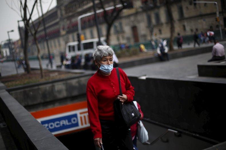 Woman wears protective mask