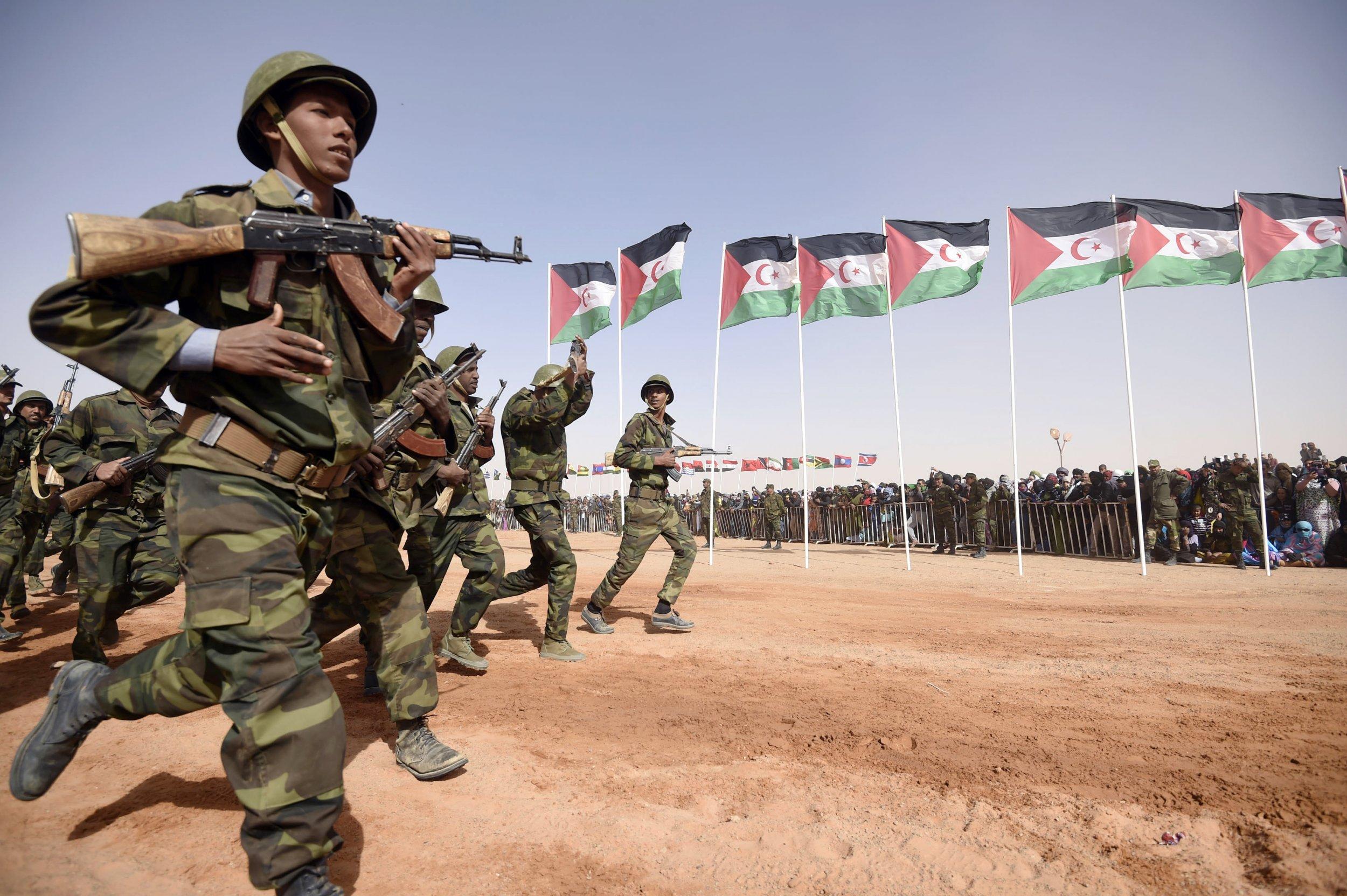 Sahrawi soldiers parade in Algeria.