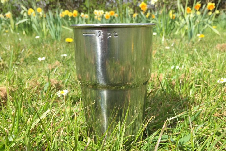 Glastonbury steel pint cup