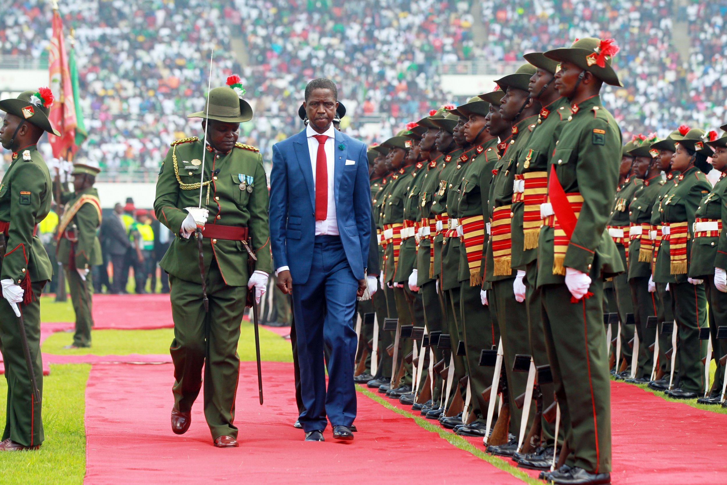 Zambia's president Edgar Lungu at his swearing-in ceremony.