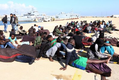 Refugees rescued in Libya.
