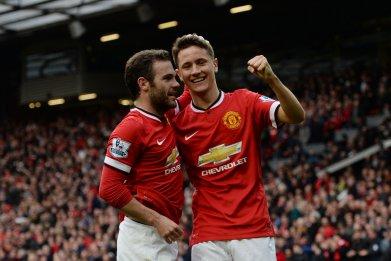 Juan Mata, left, and Ander Herrera at Old Trafford.