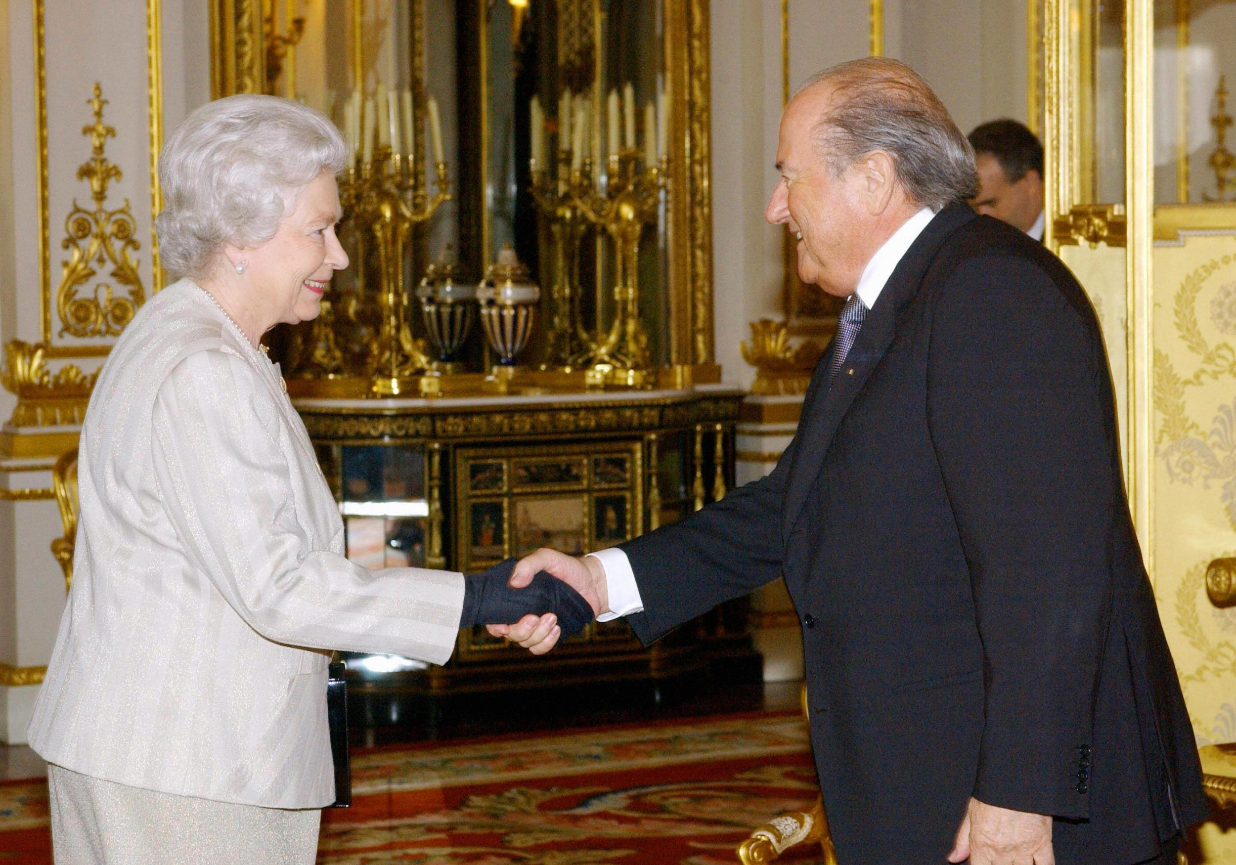 Queen Elizabeth II and Sepp Blatter.