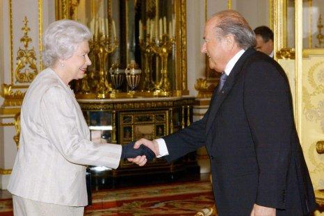 Queen Elizabeth II and Sepp Blatter.
