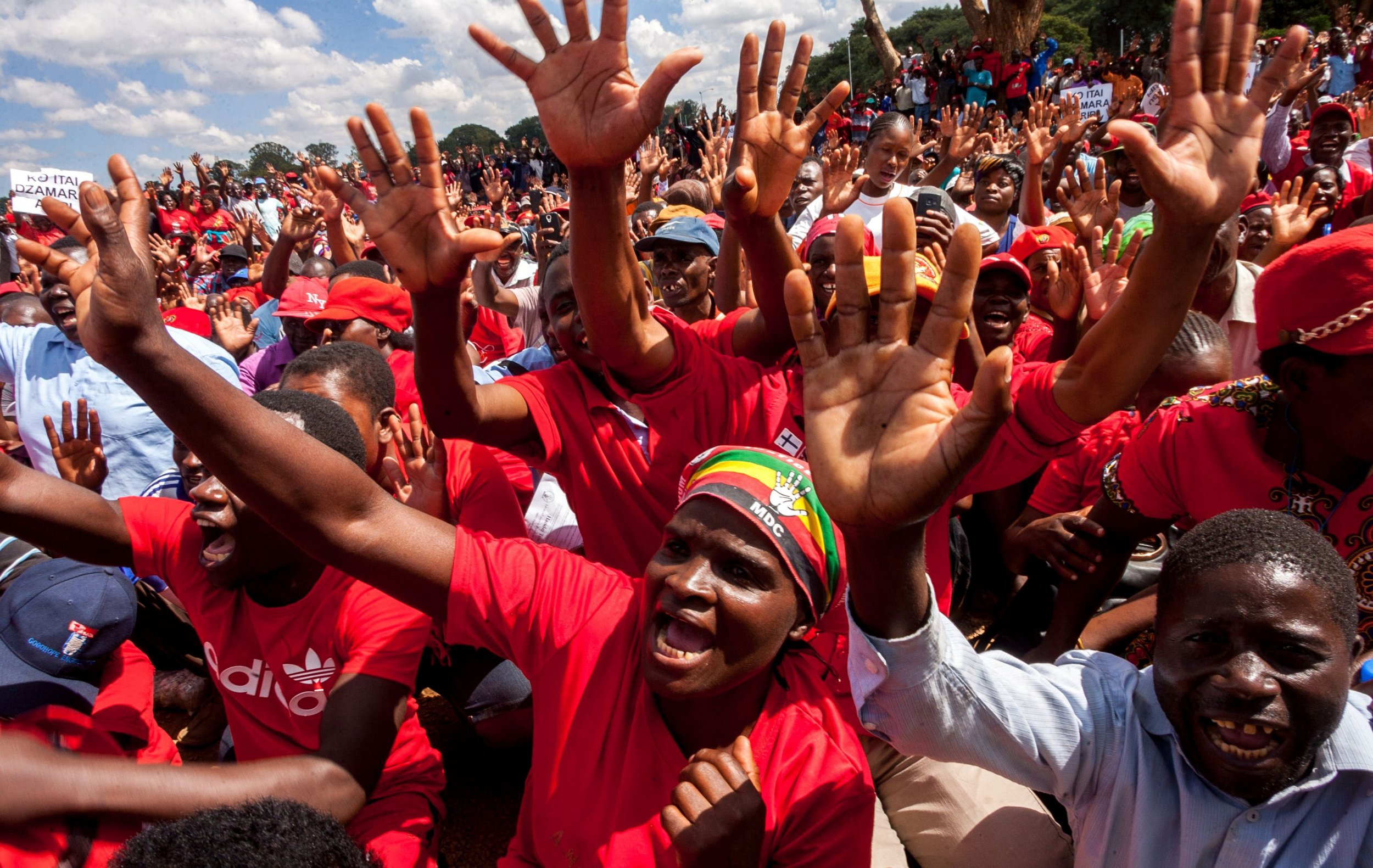 MDC supporters protest against Mugabe in Harare.