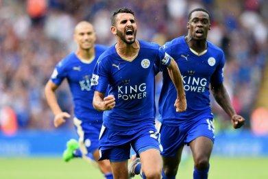 Leicester's Mahrez celebrates.