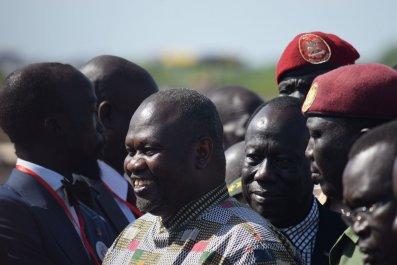 South Sudanese rebel leader Riek Machar at Juba airport.