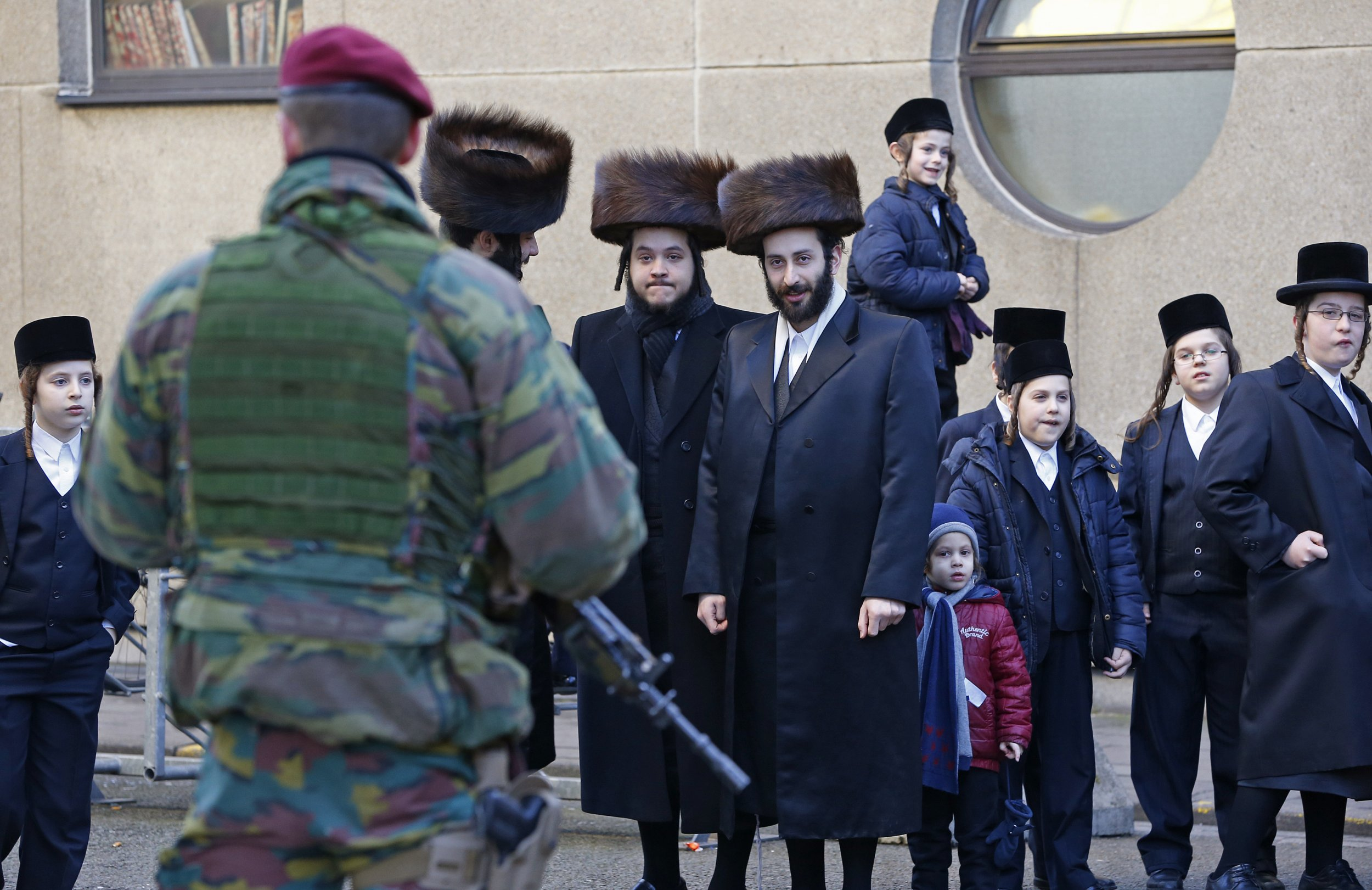 Belgian paratrooper outside a Jewish school in Antwerp