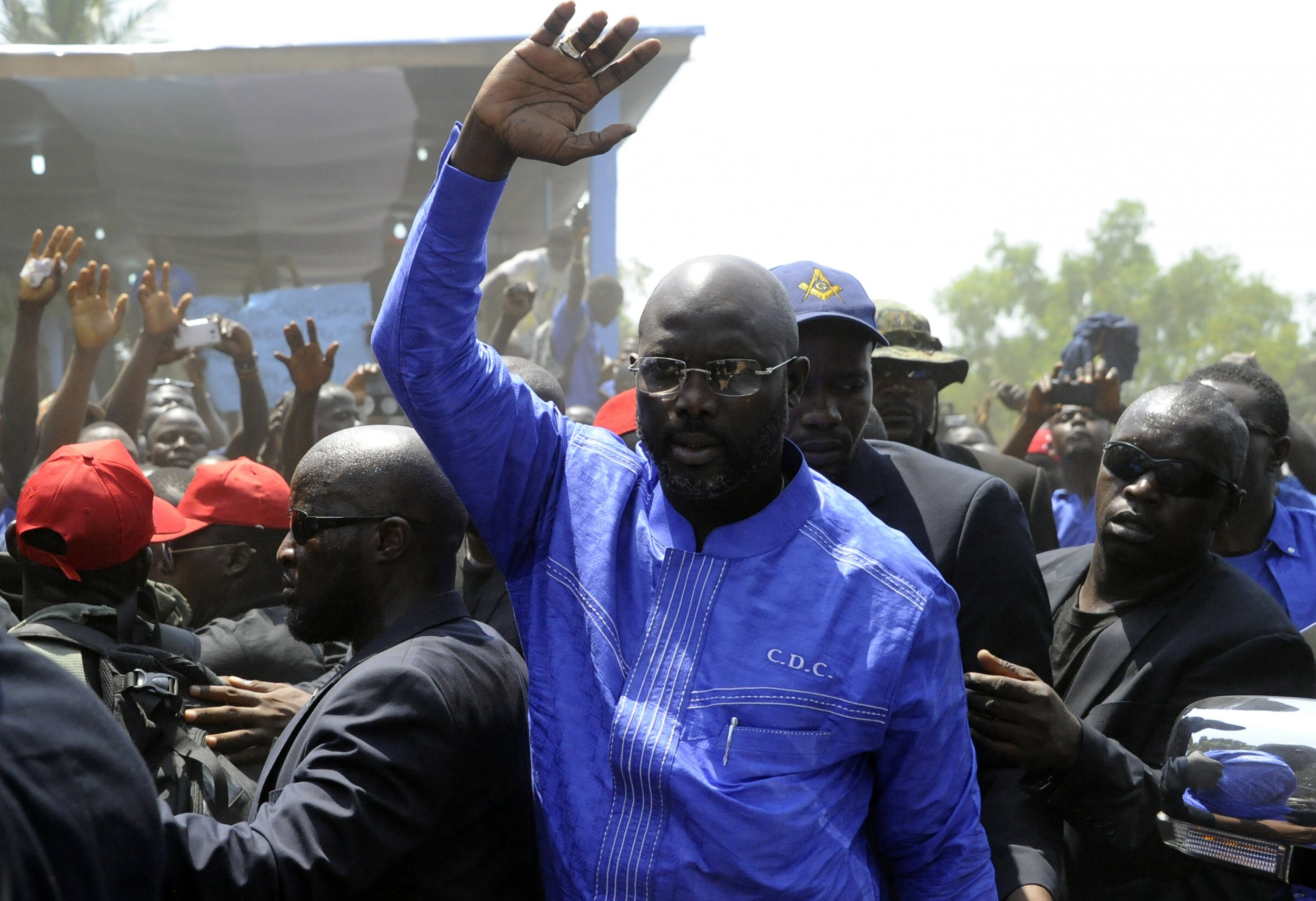 George Weah at CDC headquarters in Liberia.