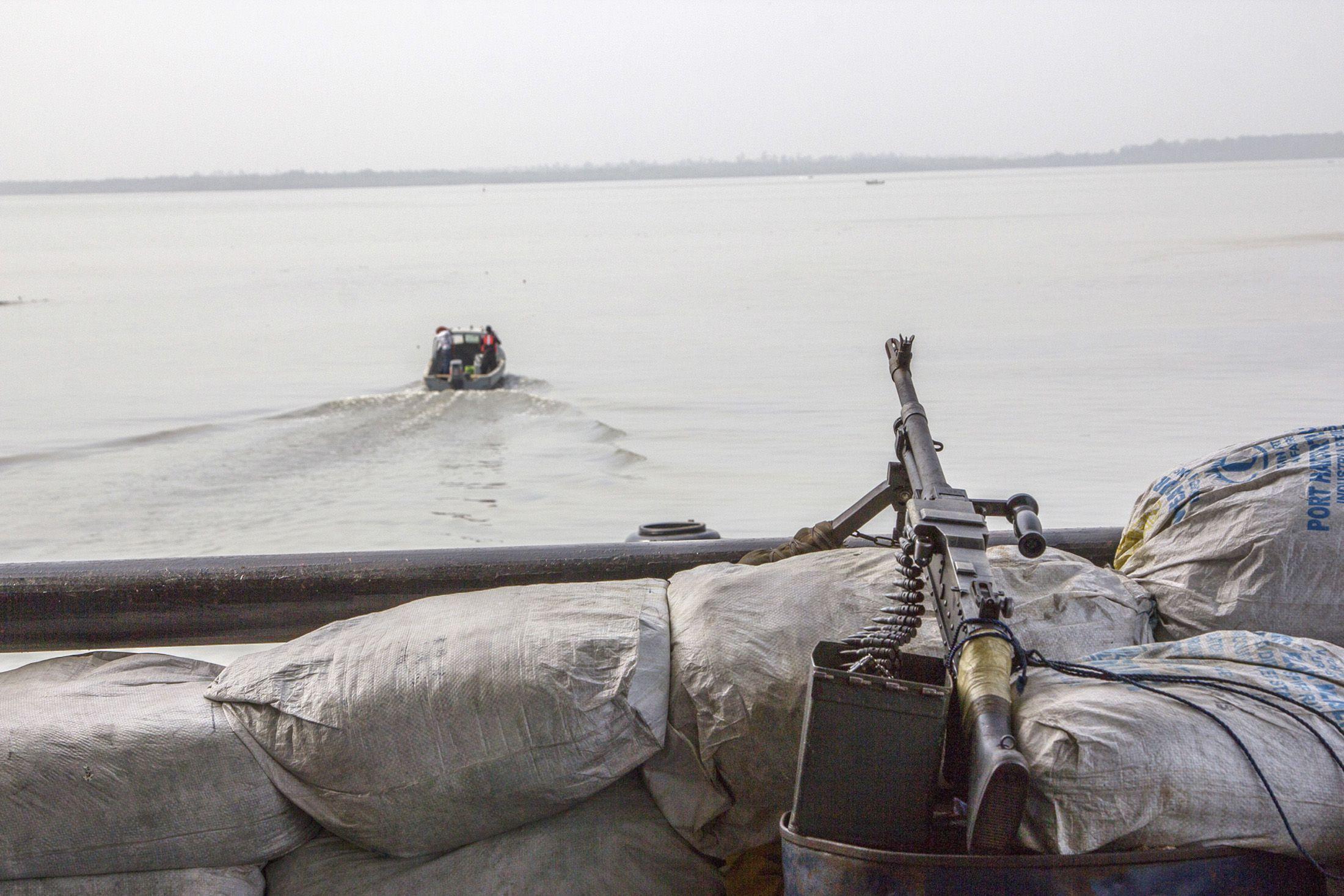 A machine gun on a boat in Nigeria's Bayelsa state.
