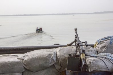 A machine gun on a boat in Nigeria's Bayelsa state.