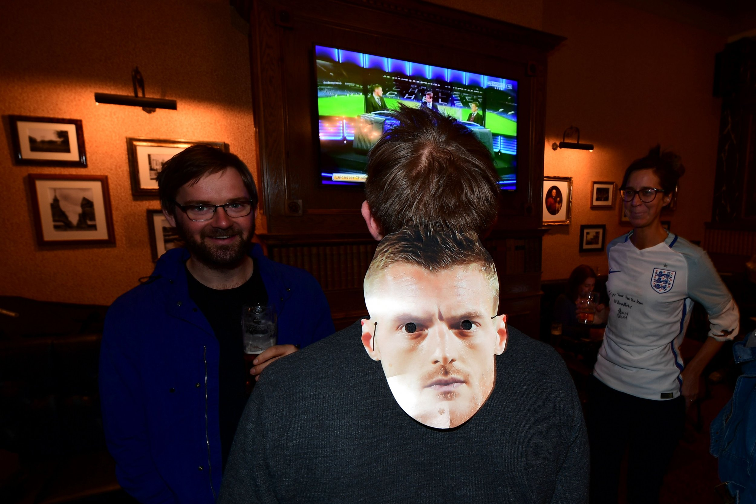 A cut-out of Leicester City striker Jamie Vardy.