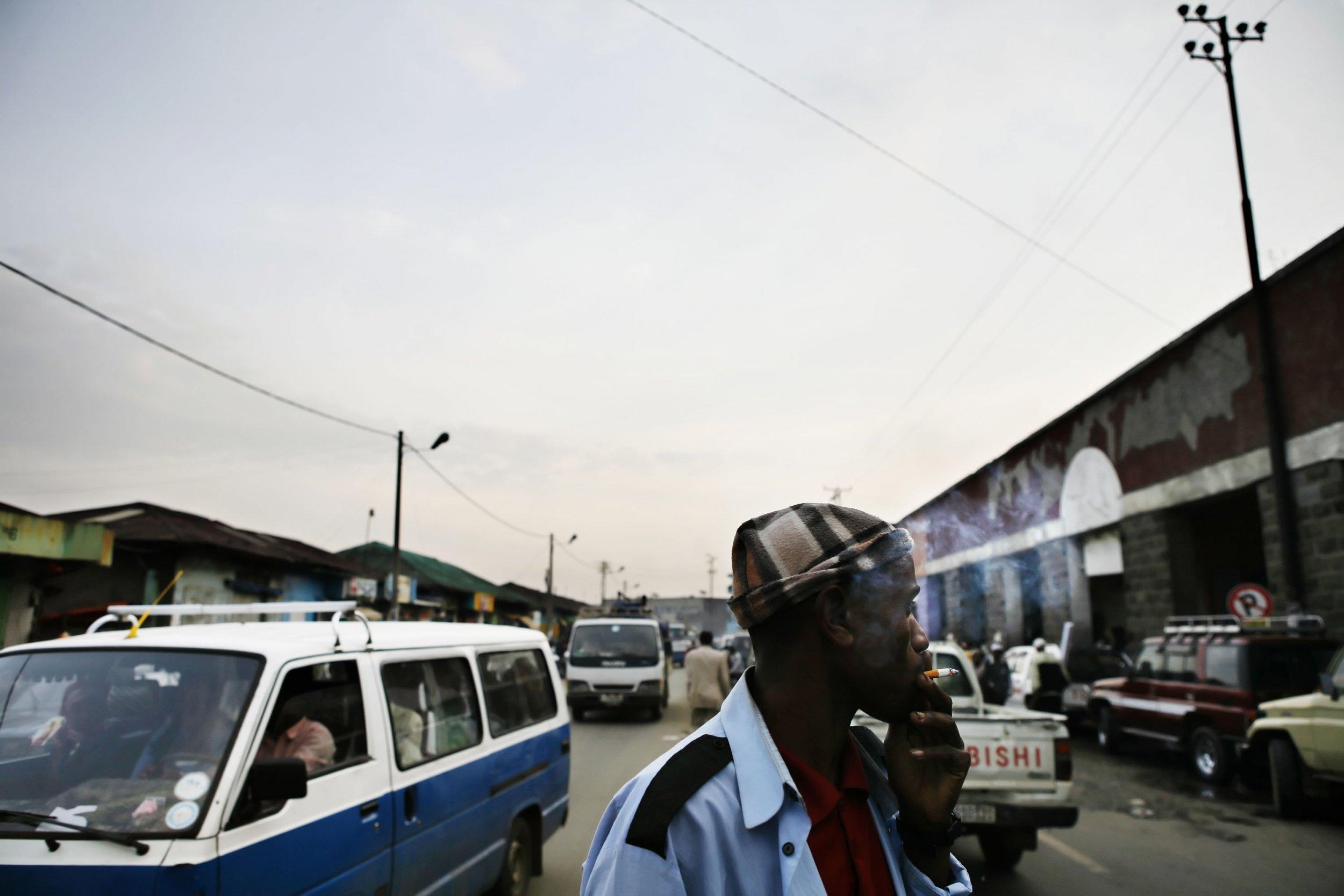 Ethiopian man smokes in Addis Ababa.