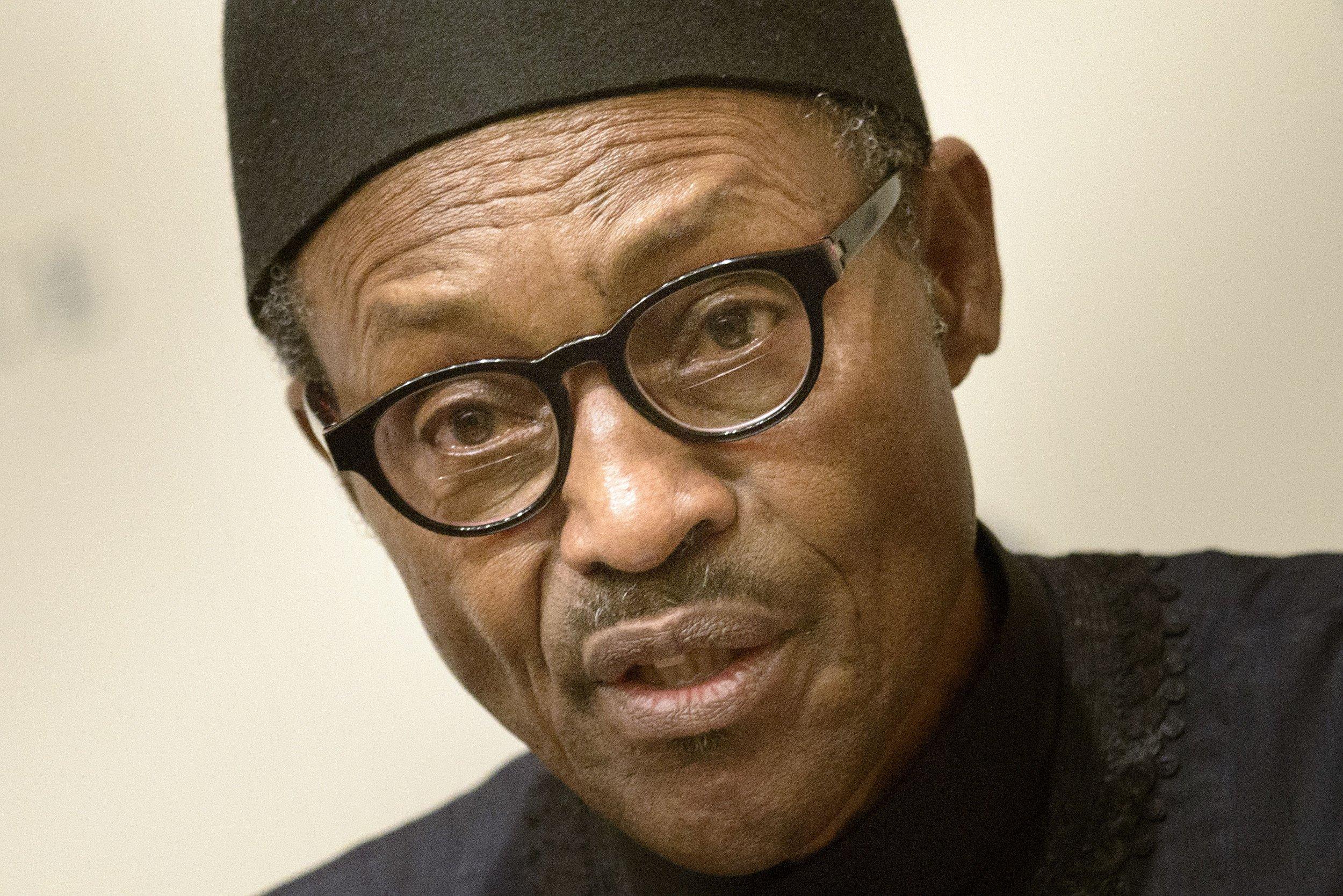 Nigerian President Muhammadu Buhari speaking in Washington.