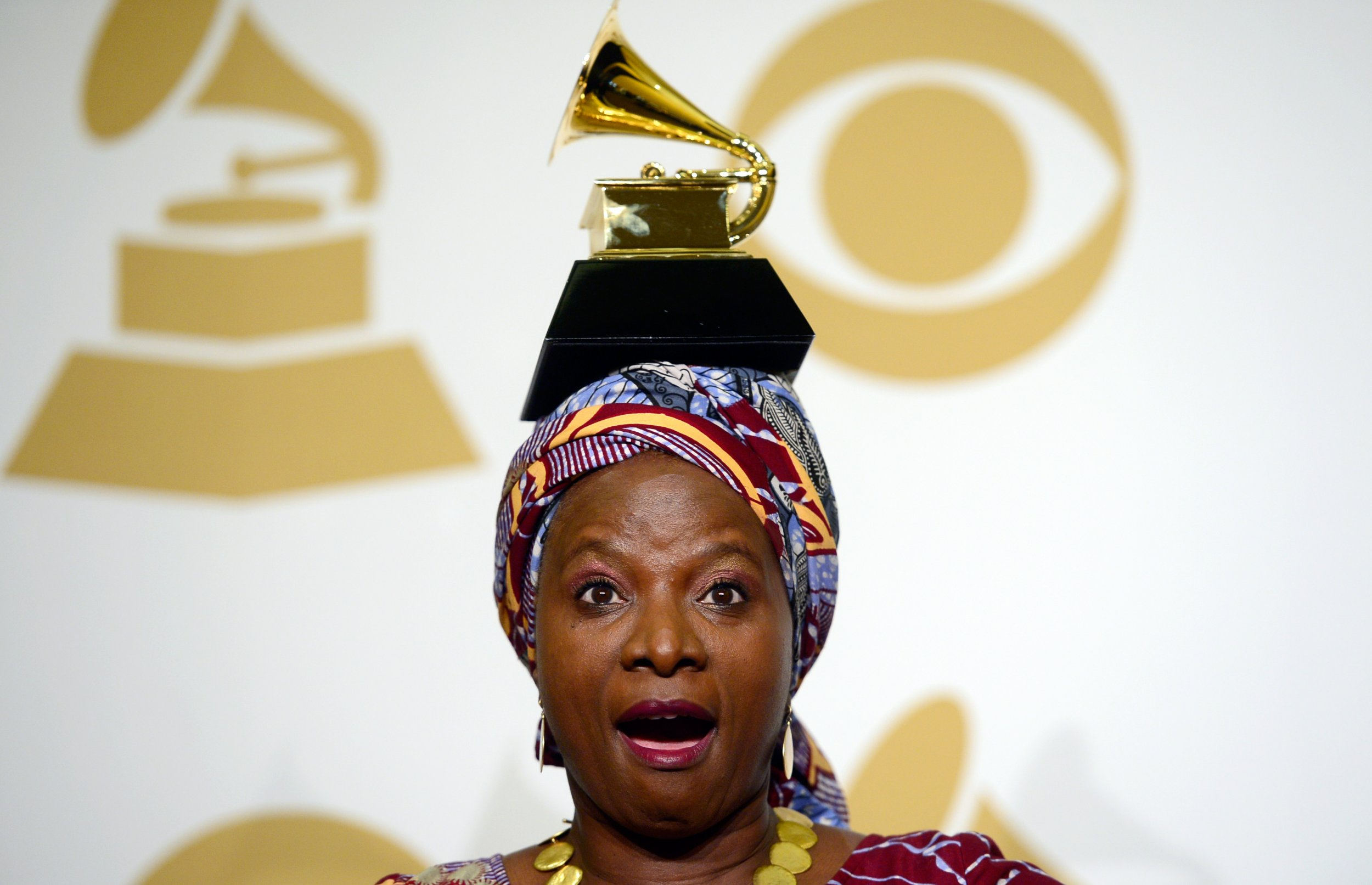 Angelique Kidjo with her Grammy award.