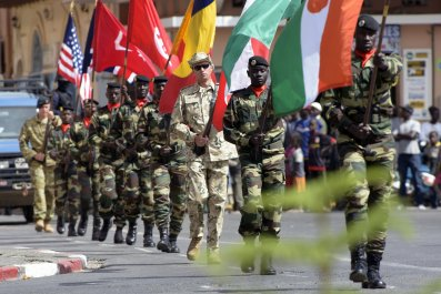 Soldiers parade after joint African, European and U.S. military exercise