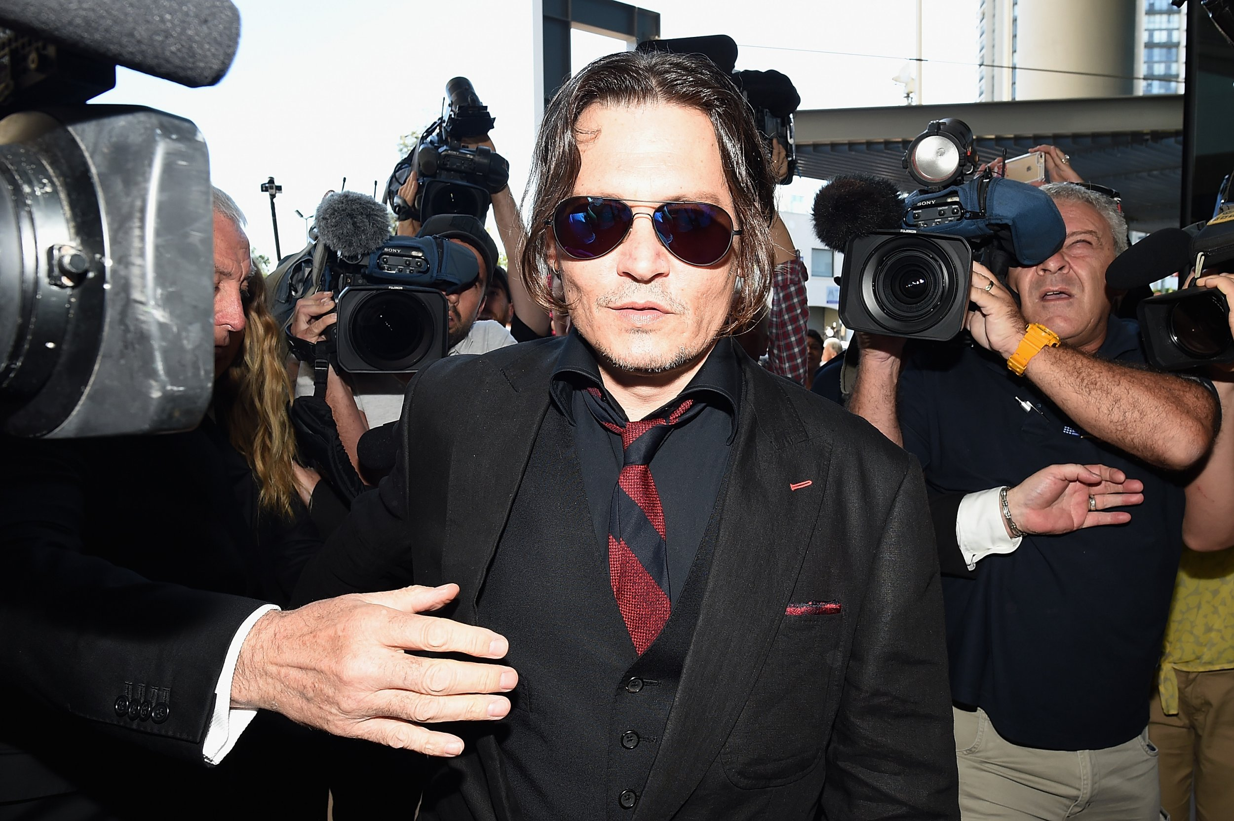 Johnny Depp arriving at court in Australia.