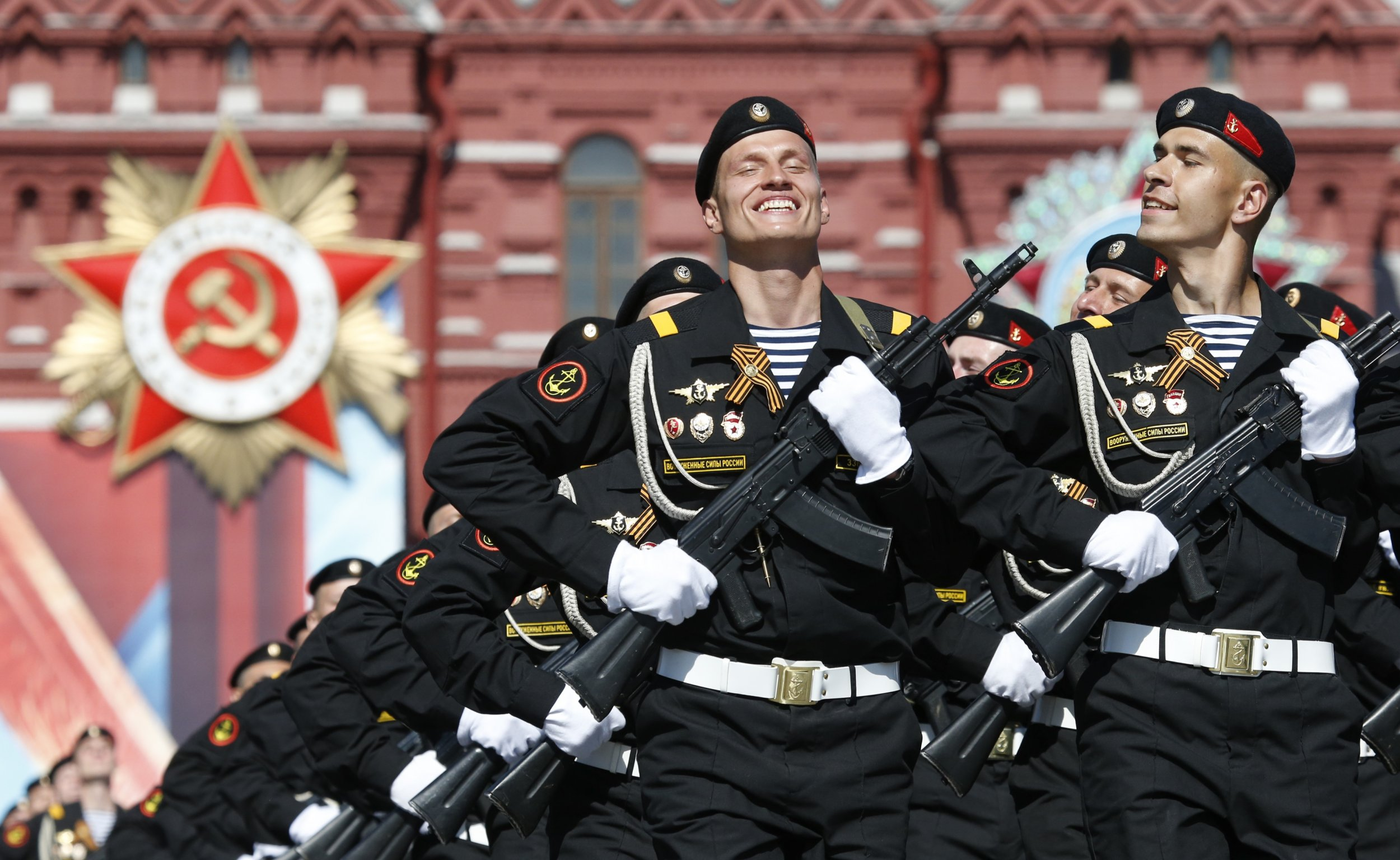 Russian troops march on the Red Square