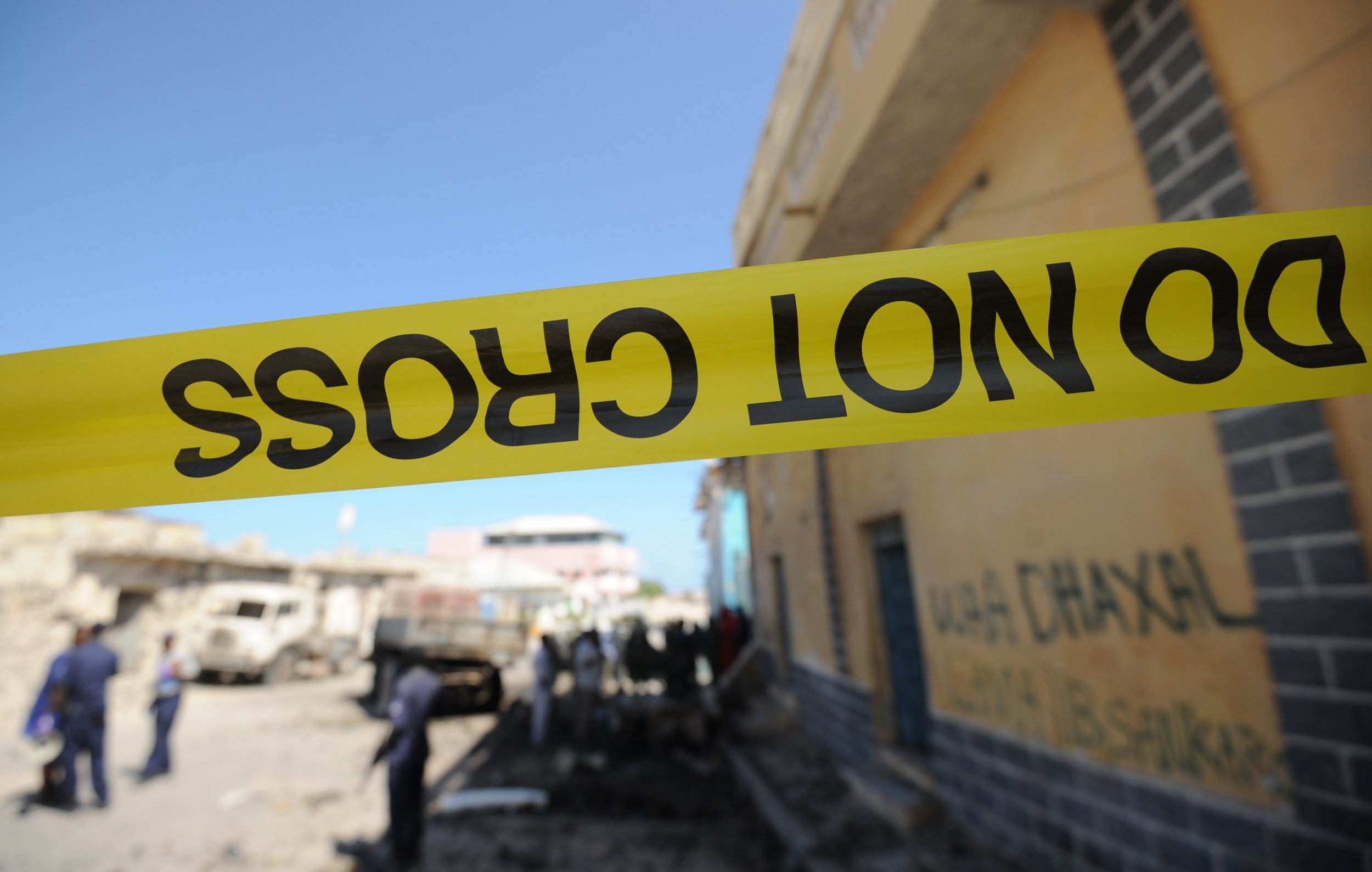 Somalia bomb site police tape