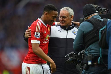 Manchester United striker Anthony Martial with Claudio Ranieri